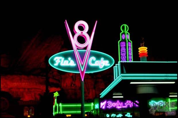 Cars Land Disneyland at night