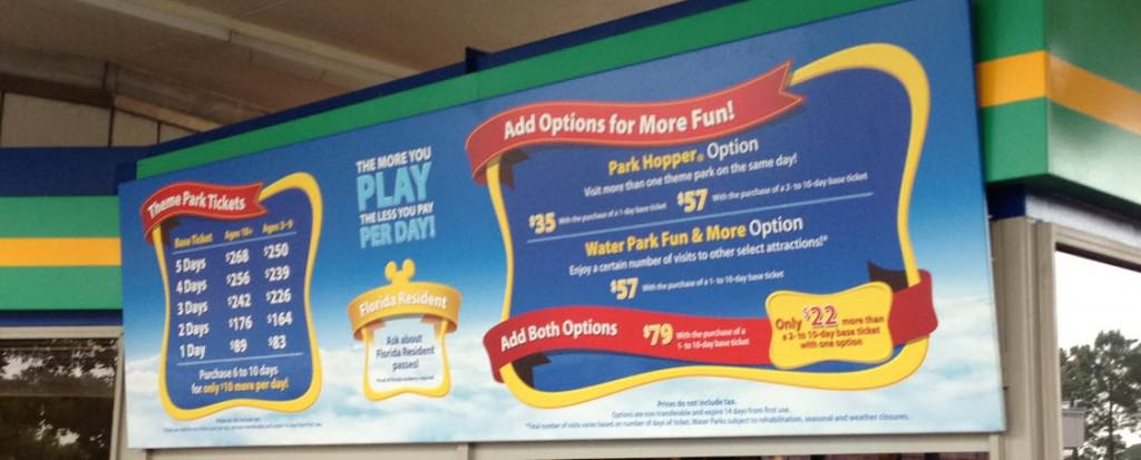 Disney World Park Ticket Prices
